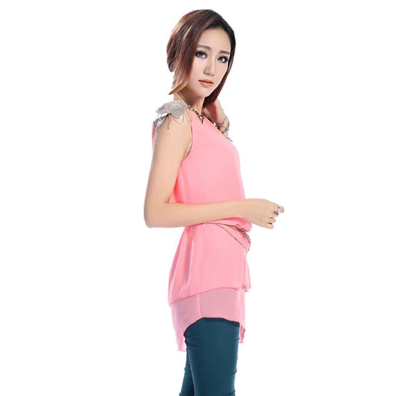 2013夏季新款女装韩版不规则下摆斜肩雪纺连衣裙