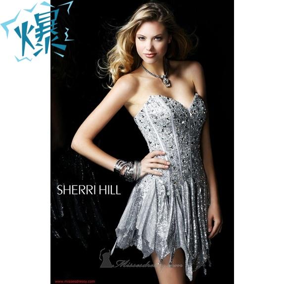 新款2013婚纱礼服精品婚纱新娘伴娘婚纱韩版钻饰奢华抹胸银色魅惑小礼服