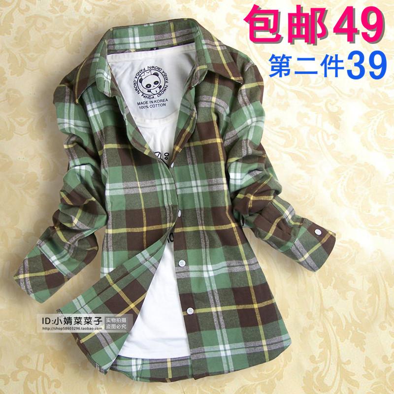 женская рубашка Пакеты почты! Зима 2013 OL Англии свежие блузка плюс размер хлопка отшлифовать утолщенные детей с длинным рукавом