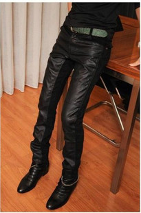 AVF stitching leather pants new wave men's autumn and winter plus size male Korean men foot slim long pants