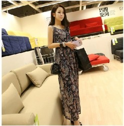 Korean style retro print chiffon beach dress vest dress belt