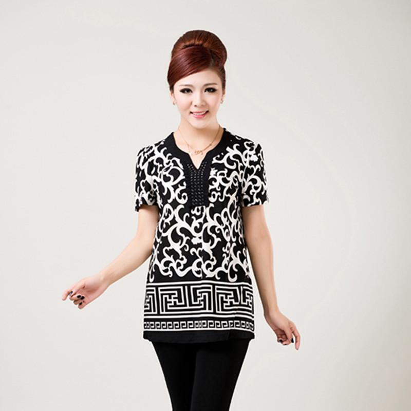 2013夏装新款中老年女装时尚钉珠V领修身气质韩版T恤衫上衣妈妈装