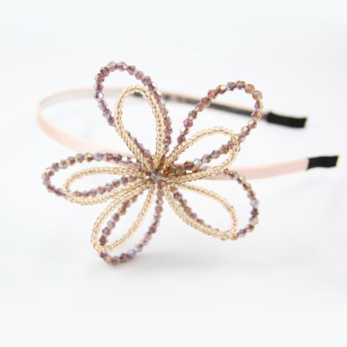 质保日韩全新串珠紫罗兰黑色发饰时尚天然水晶大花朵发箍头饰头箍