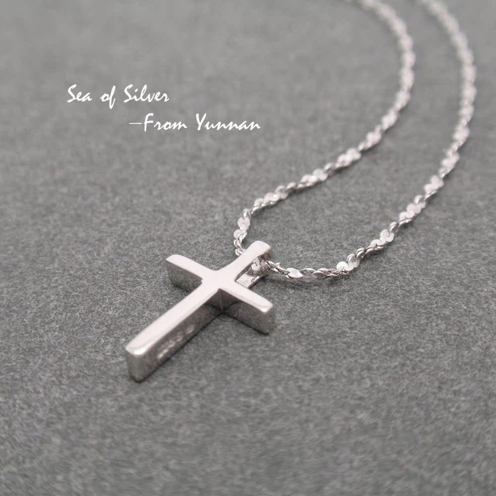 海之银925纯银迷你七夕礼物十字架项链锁骨链不过敏女款简约夏天满58包邮