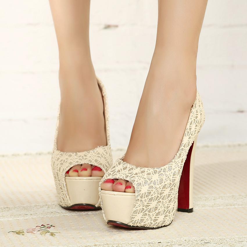 2013新款超高跟鱼嘴鞋 粗跟防水台裸色婚鞋夜店T台女单鞋韩版女鞋
