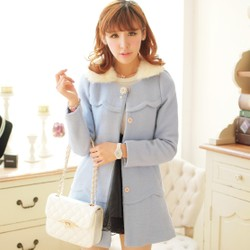 Korean style sweet rabbit fur collar wool coat slim coat Nizi