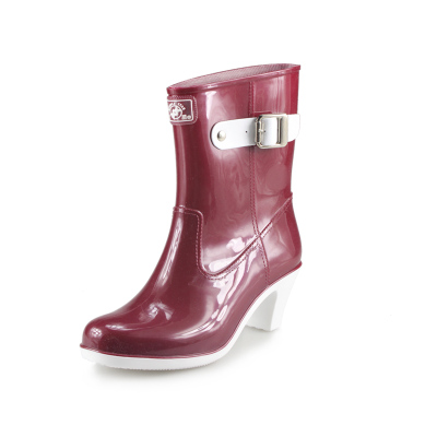Free shipping binaries cylinder high-heeled boots Korean female butterfly buckle boots rain boots female models fashion color version of TH-215