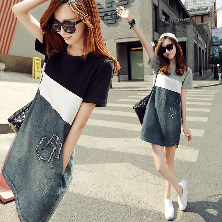 韩版夏季女装宽松款大码显瘦休闲中长款条纹拼接a字牛仔连衣裙子