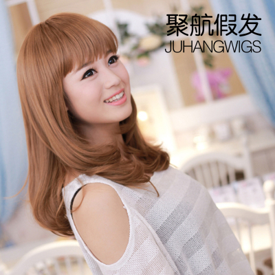 Poly Air wig oblique Liu Qi Liu fluffy wig long curly wig girls new Korean volumes jiafa