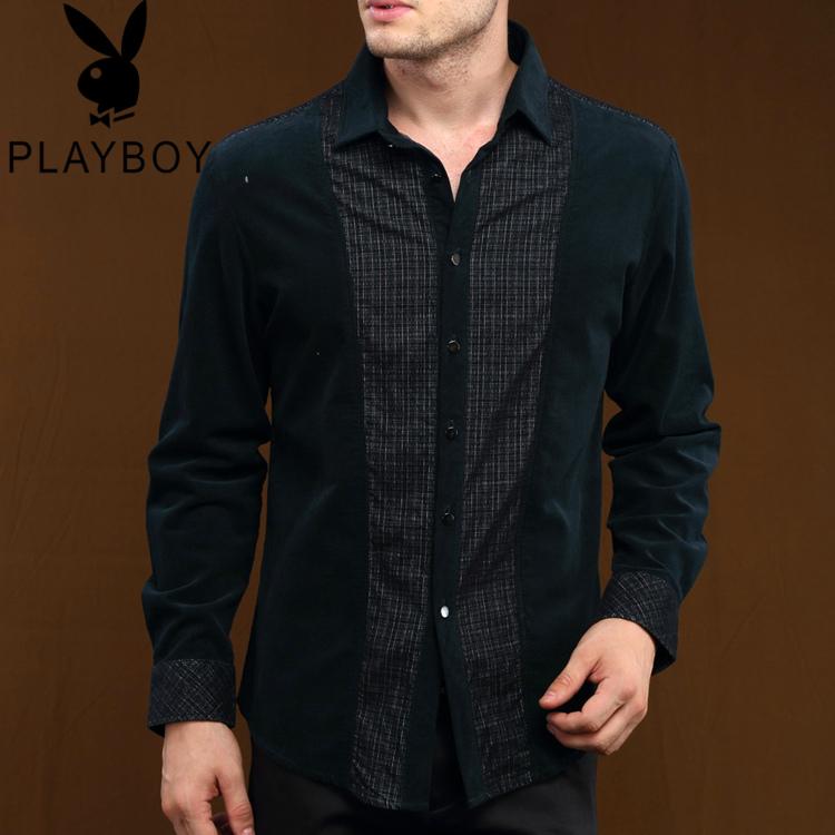 Рубашка мужская Playboy 9006 2013 Зимняя 2013 Ткань в клетку Воротник с пуговицами Длинные рукава ( рукава > 57см )