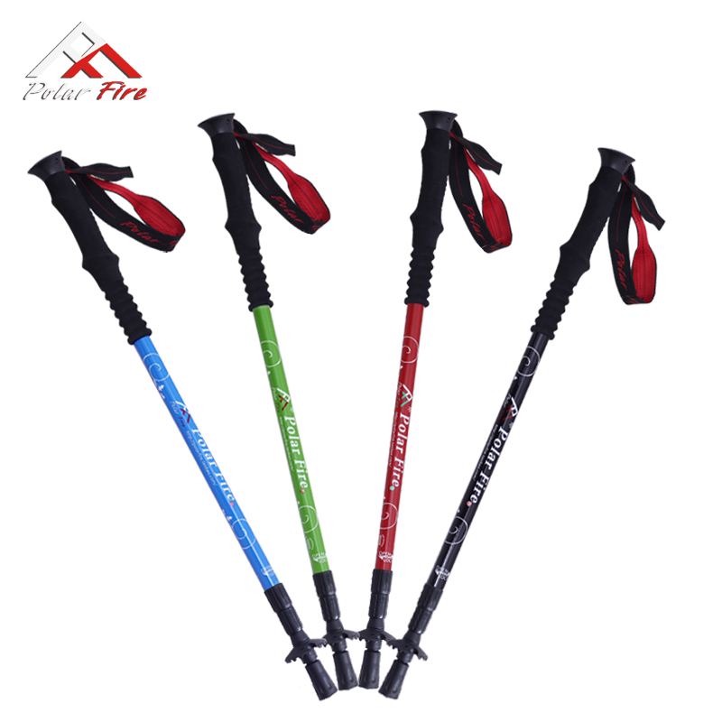 Polar fire outdoor ultra light carbon trekking poles-carbon alloy Rod telescopic walking stick canes crutches the elderly gold coin