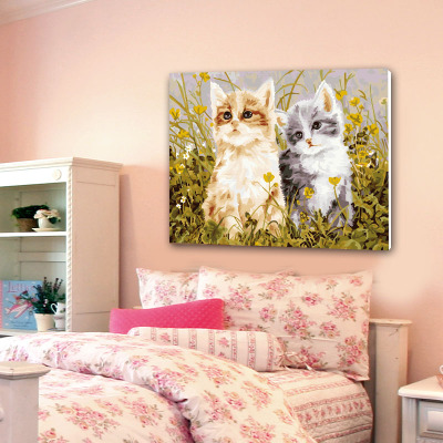 Cheap digital painting diy couple hand-painted murals decorate the living room 50x65 meal catch spring rhyme