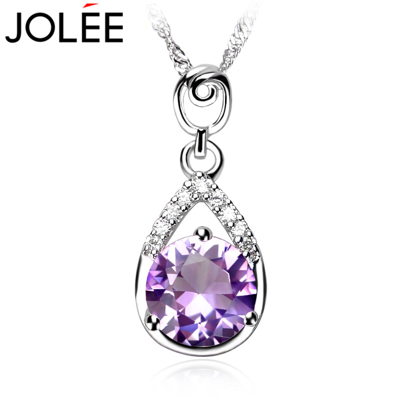 JOLEE 采用巴西纯天然紫水晶吊坠 女 925纯银项链饰品 生日礼物
