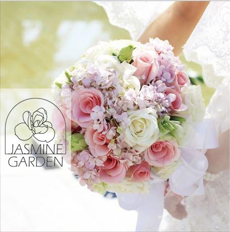 茉莉苑婚礼花艺 粉色绣球玫瑰龙胆新娘手捧花 婚礼鲜花布置