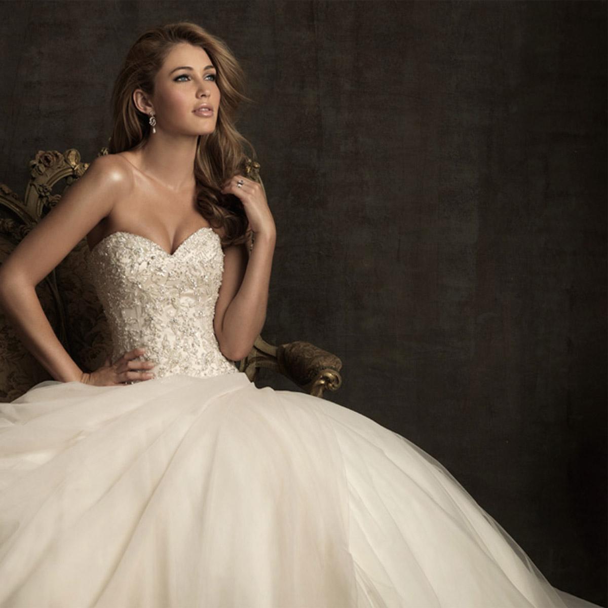 Agape婚纱 新款复古抹胸公主裙撑 手工刺绣抓褶蓬蓬裙