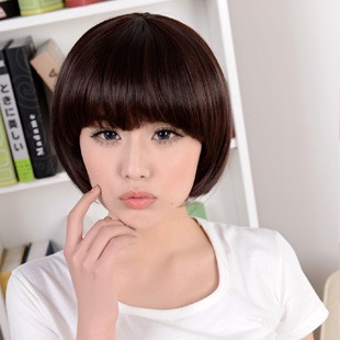 Gregg female wig bobo head repair face short straight female fluffy mushroom natural and realistic jiafa new real shot