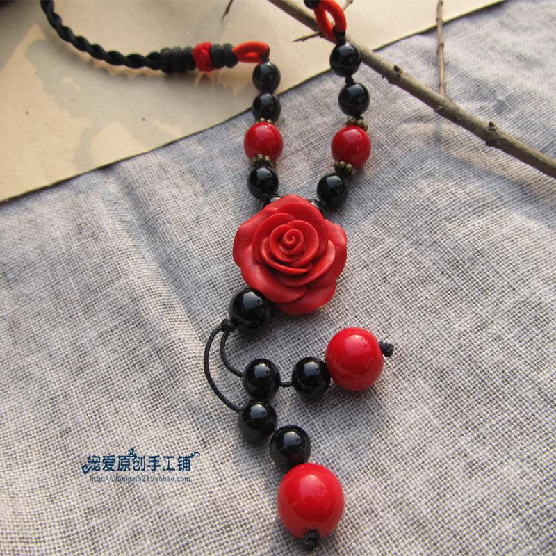 宠爱原创手工漆雕玫瑰长链 复古民族风玛瑙毛衣链 中国风红色项链