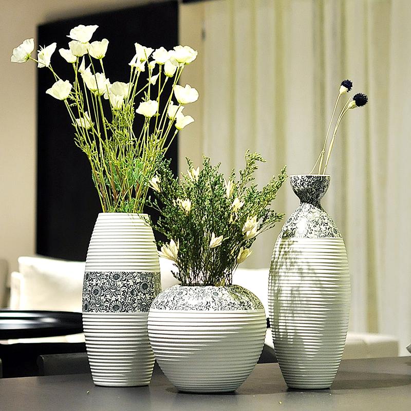景德镇君凯陶瓷器 现代简约欧式客厅三件套白花瓶 居家装饰品摆件