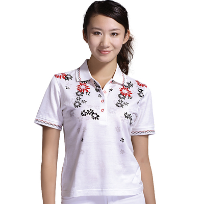 Egyptian cotton long-sleeved women / Snow flowers printed T-shirt Paradigm golfree golf apparel