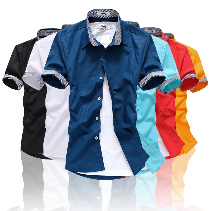 JVR Cotton & Polyester Slim Short Sleeve Casual Men Shirt