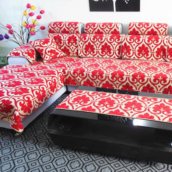 3元)  2: 秒杀纯棉绗缝沙发垫 布艺坐垫 沙发巾 实木沙发垫时尚 白