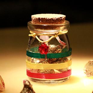 欧式创意新款手工水晶吊坠红黄绿喜糖盒子玻璃瓶结婚满月回礼批发