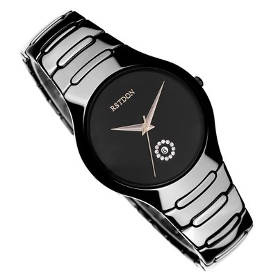 Genuine Swiss watches, men's slim waterproof ceramic watch fashion trends men quartz watch black couple watches