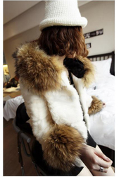 Rabbit raccoon fur hooded jacket stitching