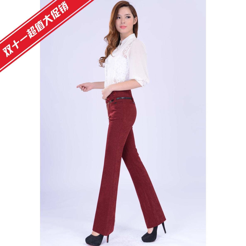Классические брюки 2013 OL Облегающий Офисный Длинные брюки Высокая талия Ткань в цветочек Зима 2013 Вышивка