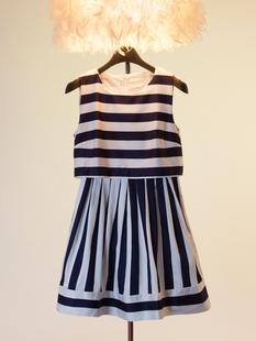 Женское платье Ветер черный и белый полосатый талии большой в Европе и Америке шоу платье без рукавов