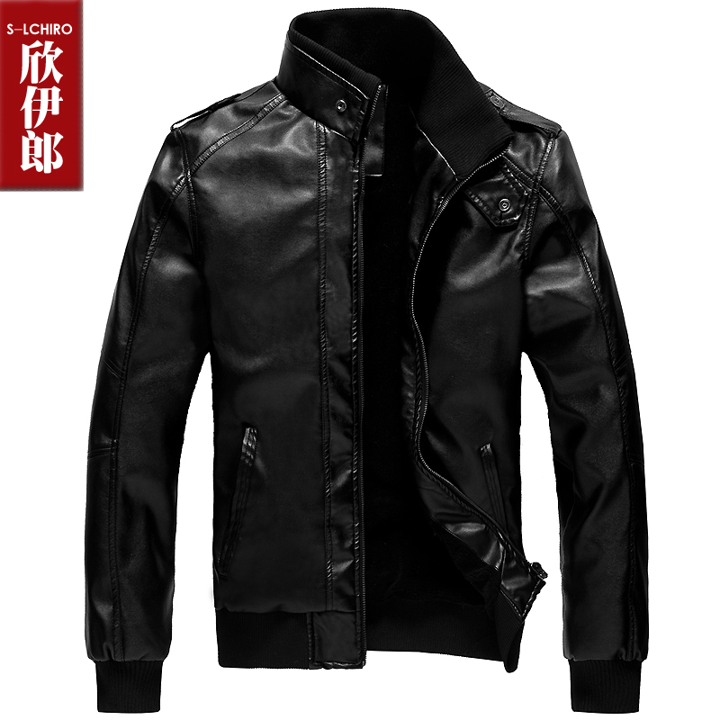 Xinyilang installed in autumn and winter fur PU leather slim fit men's plus size leather and cashmere thick