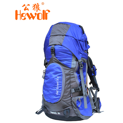 Male wolf outdoor mountaineering bag men and women riding backpack shoulder bag authentic travel bag 75L hiking pack