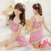 Amitima ! Multi-piece set sexy underwear transparent lace sexy female seduction sack chest a three-point Uniforms