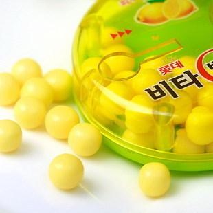 热卖推荐韩国进口Lotte乐天VC柠檬糖果17.5g盒装水果味补充维生素