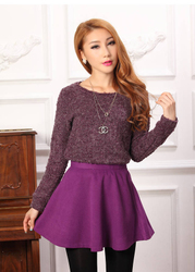 Sweet temperament ladies sweater wool skirt suit