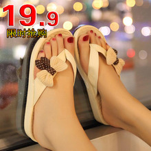 Comfortable summer new Korean bow flat shoes casual thong flip-flops Sweet beauty sandals shoes