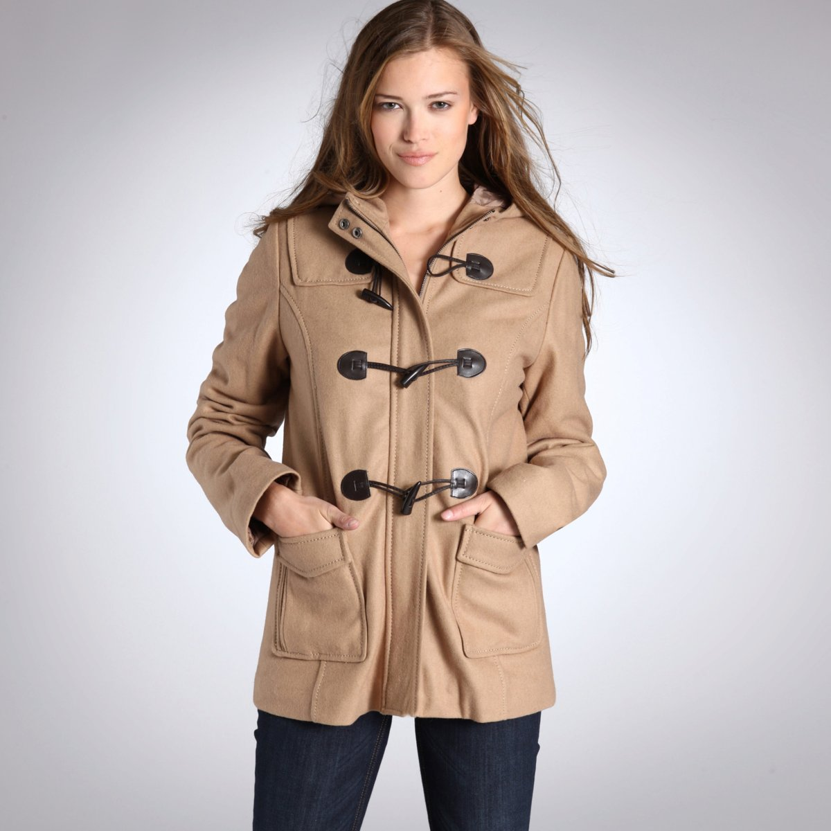 LEDU-2013 new ladies faux Horn button hooded coat GI602