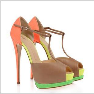 Босоножки Джузеппе zanotti2013 новый дизайн сексуальные смешанных цветов рыбы женщина сандалии партии супер сандалии Высокий каблук (более 8 см) Весна 2013 Овечья кожа