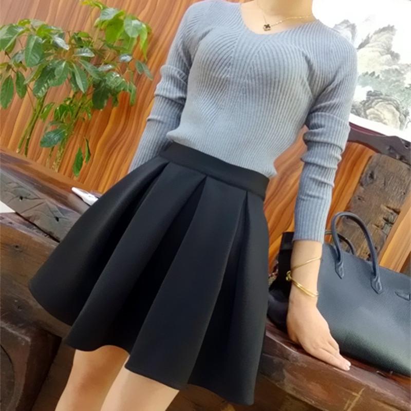 17春秋新款高腰显瘦蓬蓬裙黑色半身裙短裙百搭淑女小黑裙大摆包邮