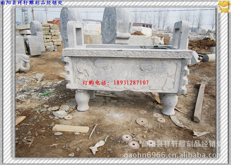 Изделие из камня имитированное под старину Поставка античные резные Храм каменный камень ладан горелка кадильницу Баодин | Bluestone | foguangpuzhao штатив
