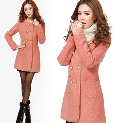 Korean style winter slim double-breasted long womens woolen coat