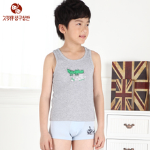 Long age companion Boy's pure cotton vest underwear of nine and a half men and children's children during the spring and autumn vest male baby shawl
