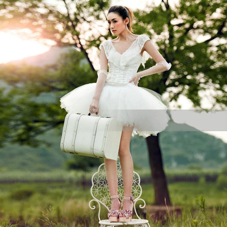 影楼主题婚纱一字肩短款结婚季小礼服裙 时尚结婚纱晚礼服 蕾丝伴娘服