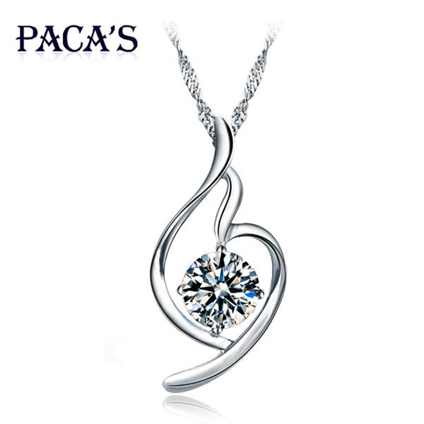 PACAS心形925纯银项链 女短款锁骨夸张韩版时尚饰品 装饰水晶吊坠