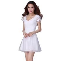 2013 夏装新款蕾丝裙 高腰V领蕾丝网纱拼接短袖连衣裙