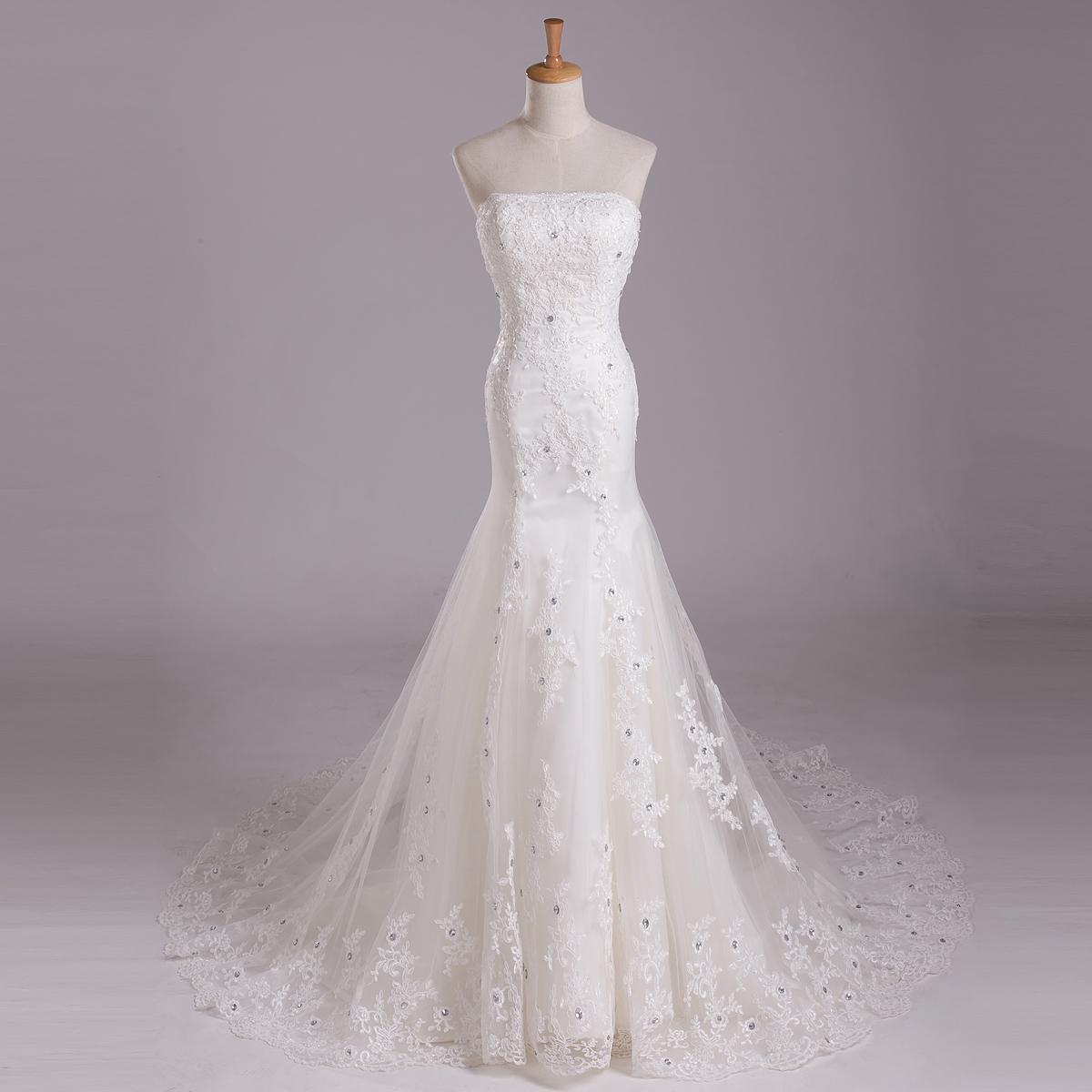 妖娆柔美缎面婚纱  蕾丝长拖尾半透鱼尾镶钻复古优雅婚纱礼服