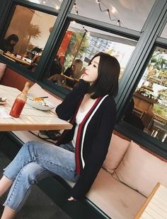 2017春装新款小宜定制YESWOMEN条纹V领毛衣针织衫女开衫外套短款