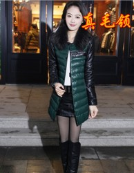 Slim raccoon fur collar down jacket fashion style