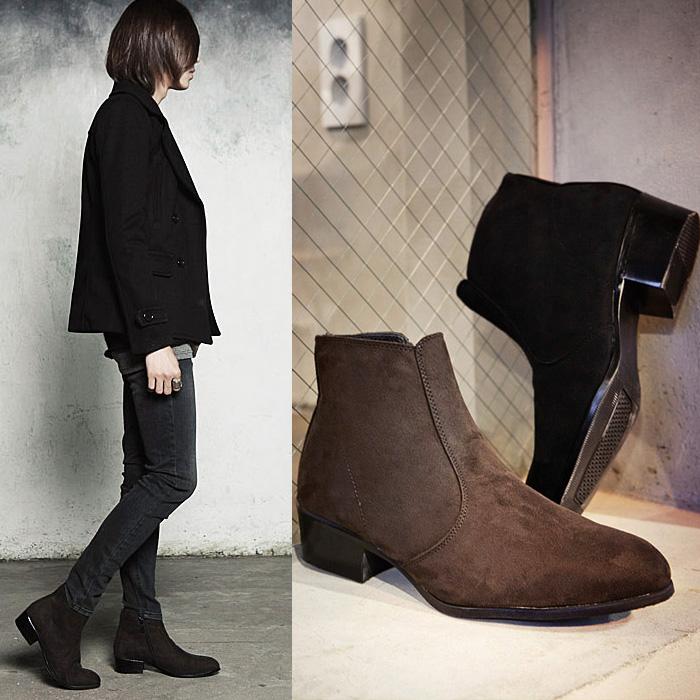 Полуботинки Martin boots 505 Берцы Молния Ткань Замша Нубук (шершавая кожа) Среднее голенище ( 20-28 см) Острый носок