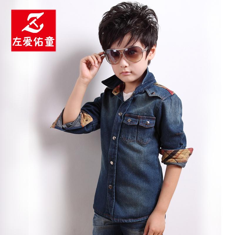 Рубашка детская Left love Yau Tong aklq/1206 2013 Для молодых мужчин Джинсы Весна-осень Рубашка с длинными рукавами Отложной воротник